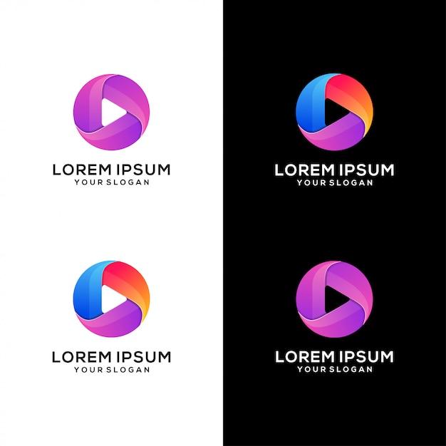 Abstract spelen media logo vector Premium Vector