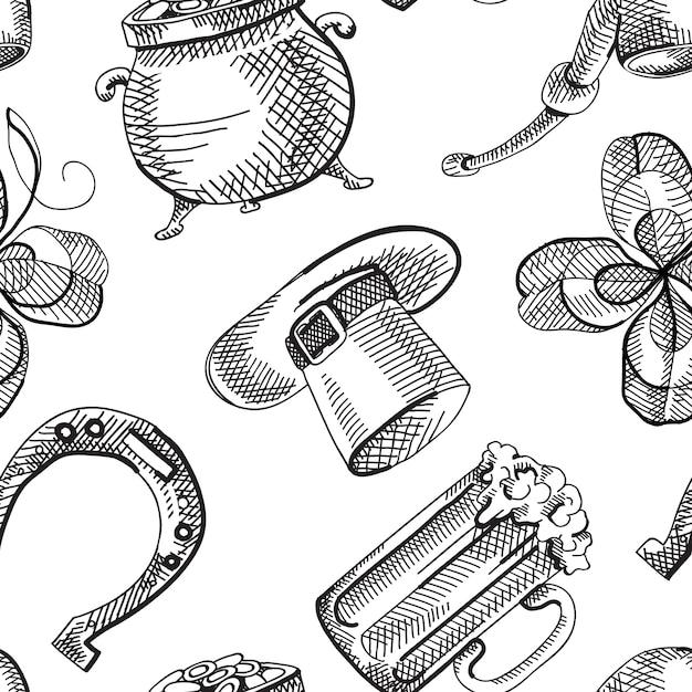 Abstract st patricks day naadloos patroon met schets traditionele symbolen en elementen Gratis Vector