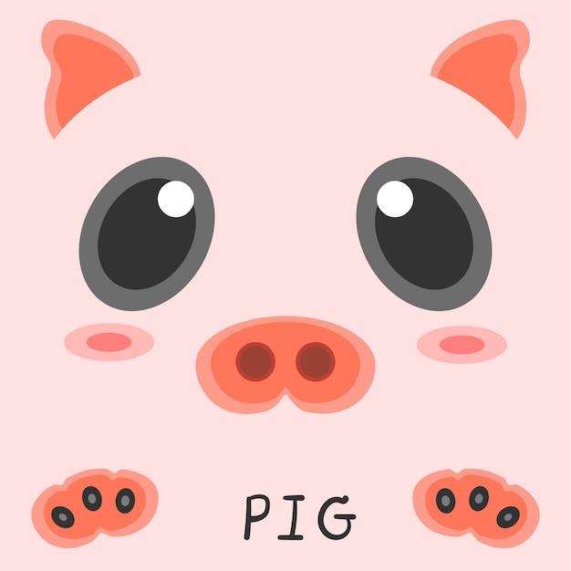 Abstract tekening dierlijk varken foto 2d ontwerp. Premium Vector