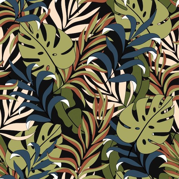 Abstract tropisch naadloos patroon met mooie gele en blauwe bladeren en planten Premium Vector