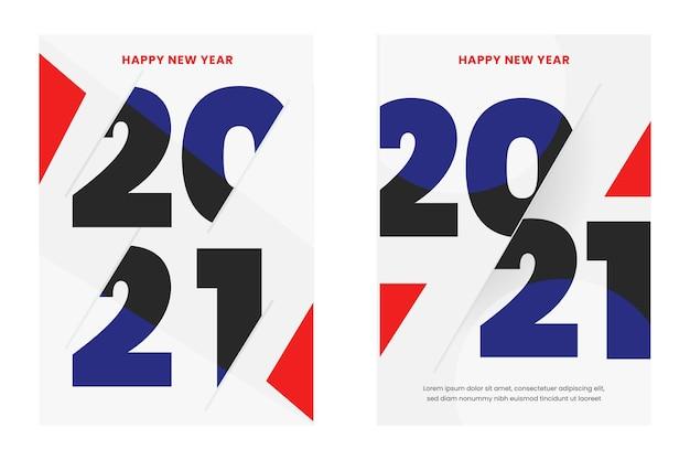 Abstract typografisch nieuwjaar 2021 partij poster sjabloon Gratis Vector