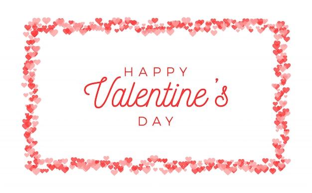 Abstract valentijnsdag wenskaart ontwerp. rode harten horizontale frame Premium Vector