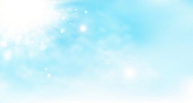 Abstract vector zomer hemelachtergrond met wolken en zon. Premium Vector