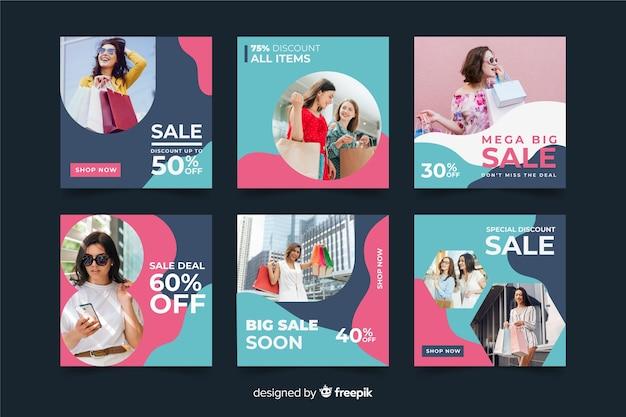Abstract verkoop instagram postpakket met foto Gratis Vector