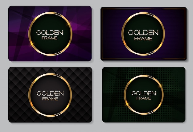 Abstract visitekaartje met gouden frame collectie set Premium Vector