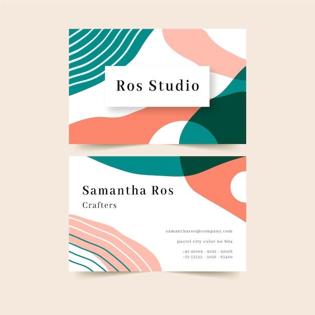 Abstract visitekaartje met kleurrijke vlekken Gratis Vector