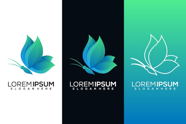 Abstract vlinder logo Premium Vector