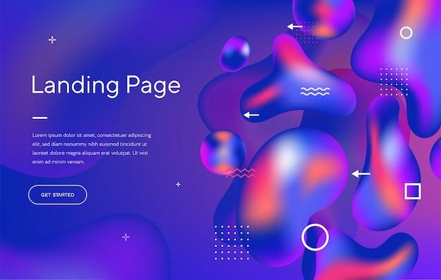 Abstract vloeibaar modern grafisch element. dynamisch gekleurde vormen en golven. sjabloon voor het ontwerp van een bestemmingspagina voor een website Premium Vector