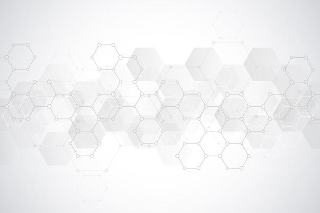 Abstract zeshoekenpatroon voor medisch of wetenschappelijk en technologisch modern ontwerp. abstracte textuurachtergrond met moleculaire structuren en chemische technologie. Premium Vector
