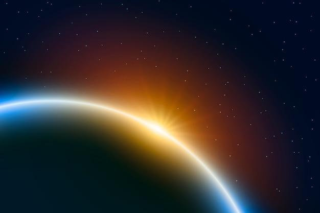 Abstract zonsopgang lichteffect Gratis Vector