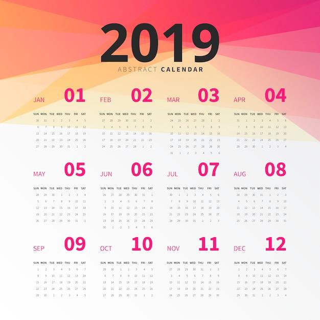 Abstracte 2019 kalender Gratis Vector