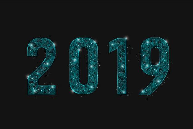 Abstracte 2019 op zwarte achtergrond Premium Vector
