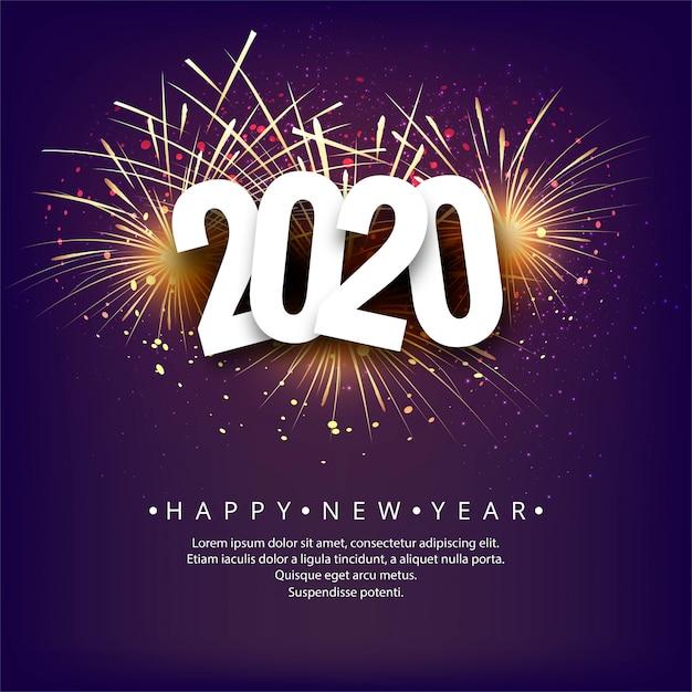 Abstracte 2020 nieuwe jaar achtergrondvieringsvector Gratis Vector