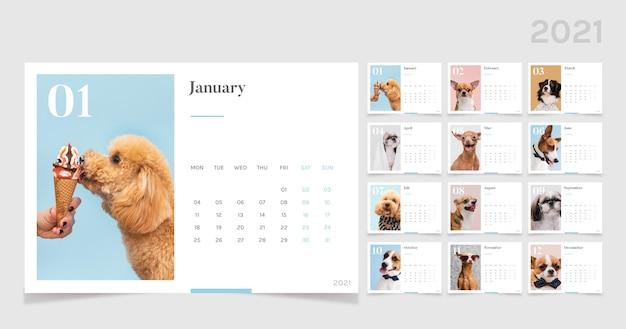 Abstracte 2021 kalendersjabloon Gratis Vector