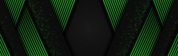 Abstracte 3d achtergrond met groene en donkergrijze papierlagen Premium Vector