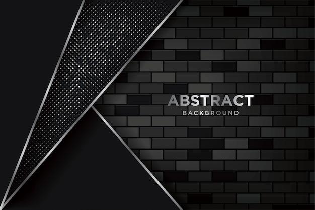 Abstracte 3d-achtergrond met realistische donkere brickwalls Premium Vector