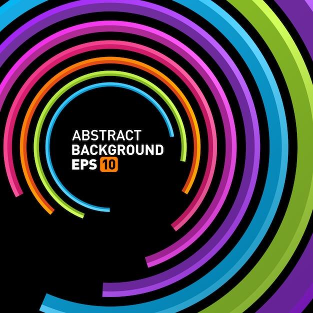 Abstracte 3d cirkellijnen op perspectief moderne vectorachtergrond. Premium Vector