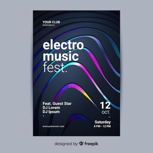 Abstracte 3d elektronische muziek poster sjabloon Gratis Vector