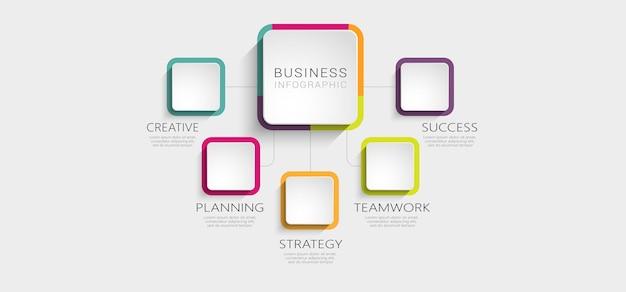 Abstracte 3d-infographic sjabloon met opties voor brochure Premium Vector