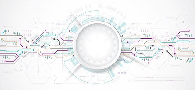 Abstracte 3d ontwerpachtergrond met technologie Premium Vector