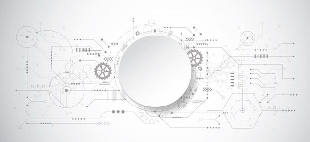 Abstracte 3d ontwerpachtergrond met technologiepunt en lijn Premium Vector