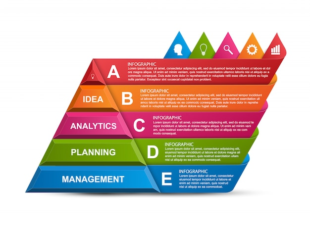Abstracte 3d piramide opties infographics. Premium Vector