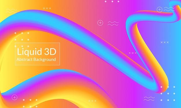 Abstracte 3d vloeibare achtergrond Premium Vector