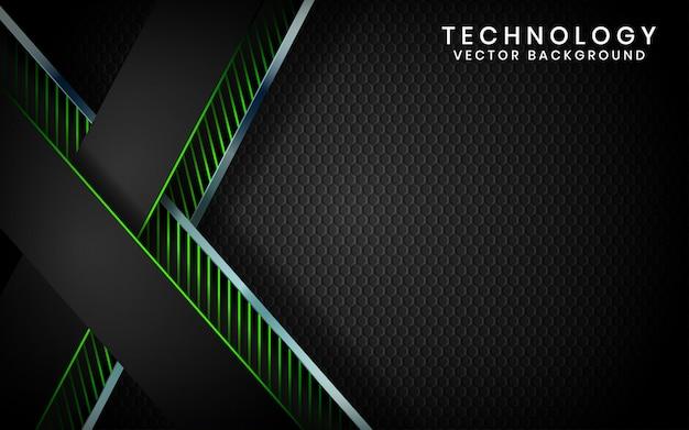 Abstracte 3d zwarte technologie achtergrond overlappende lagen op donkere ruimte met groen licht effect decoratie Premium Vector