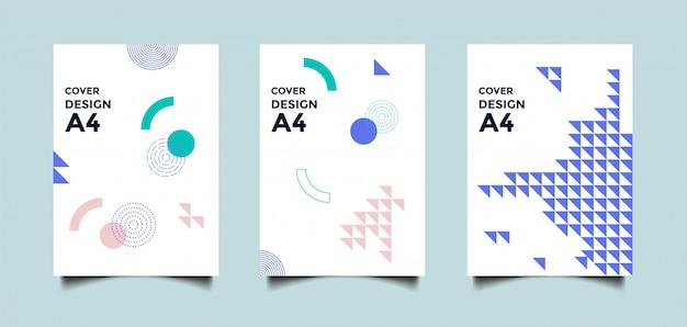 Abstracte a4 cover achtergrond met geometrische vormen Premium Vector