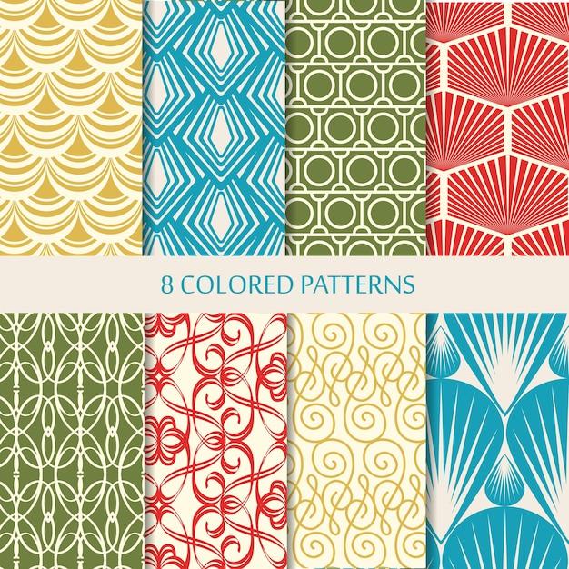 Abstracte acht kleurrijke naadloze geplaatste patronen Gratis Vector