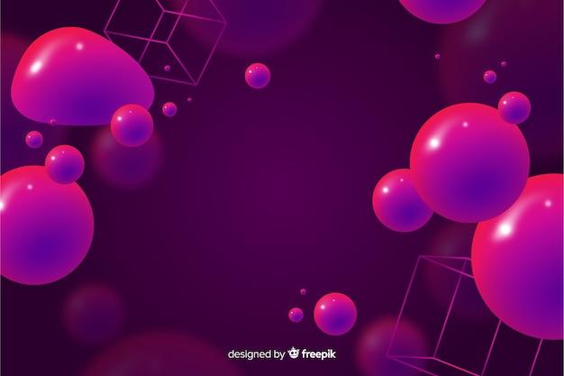 Abstracte achtergrond met 3d vloeibare vormen Gratis Vector
