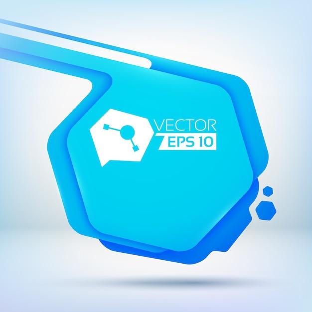 Abstracte achtergrond met blauwe zeshoekige vlek met afgeronde hoeken kleurenlagen en kleine inktdruppels Gratis Vector