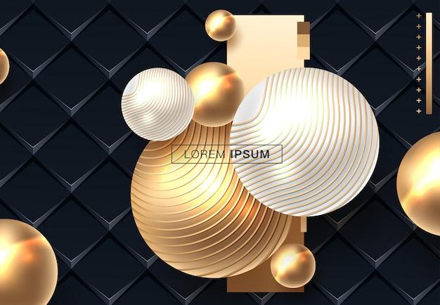 Abstracte achtergrond met bollen in gouden en zwarte kleur Premium Vector