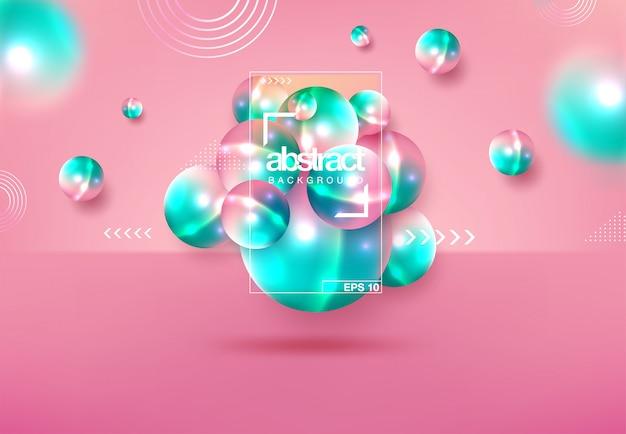 Abstracte achtergrond met dynamische 3d-bollen Premium Vector