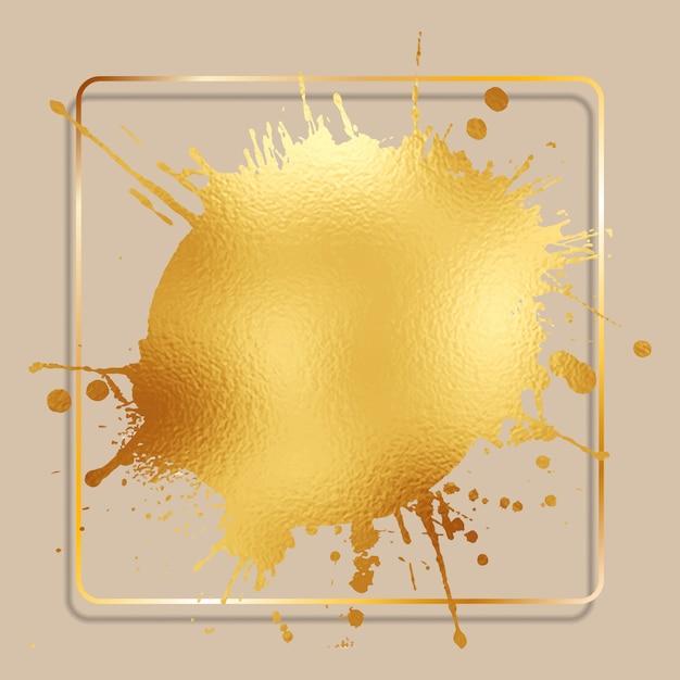 Abstracte achtergrond met een gouden folie splatter met een gouden frame Gratis Vector