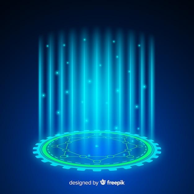 Abstracte achtergrond met een holografisch portaal Gratis Vector
