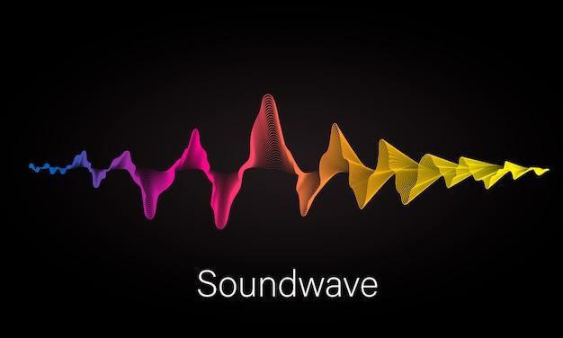 Abstracte achtergrond met gekleurde dynamische golven, lijn en deeltjes Premium Vector