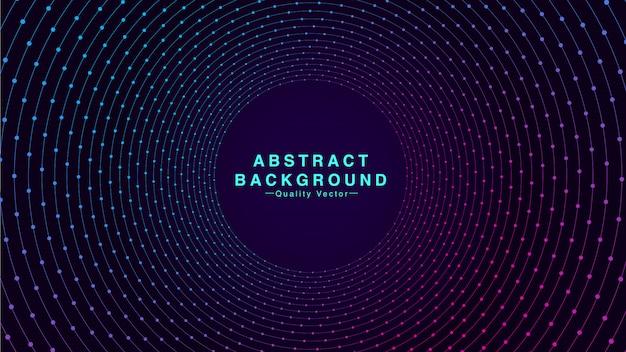Abstracte achtergrond met geometrische cirkellijn en deeltjespunt in cyaan en roze kleur. ik Premium Vector