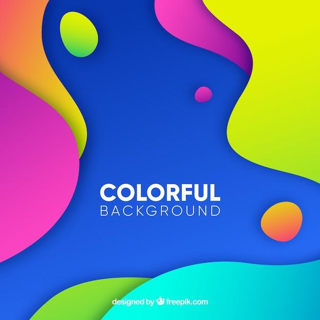 Abstracte achtergrond met kleurrijke afgeronde vormen Gratis Vector