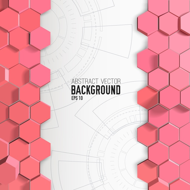 Abstracte achtergrond met roze zeshoeken Gratis Vector