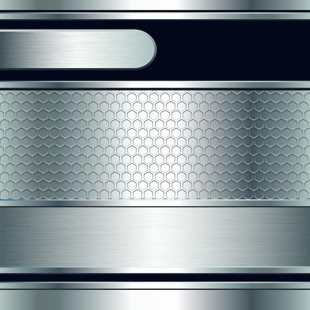 Abstracte achtergrond, metallic zilveren banners. illustratie Premium Vector