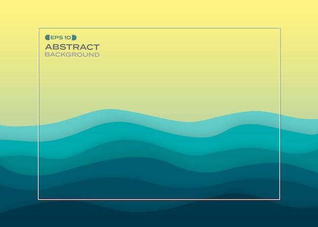 Abstracte achtergrond van blauw papier gesneden zomer zee. Premium Vector