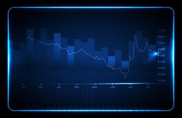 Abstracte achtergrond van blauwe financiële grafiek trend lijngrafiek Premium Vector