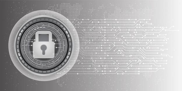 Abstracte achtergrond van cyberveiligheid en informatie of netwerkbeveiliging. Premium Vector