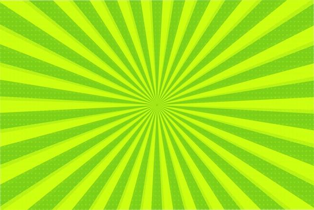 Abstracte achtergrond van groene en gele stralen Premium Vector