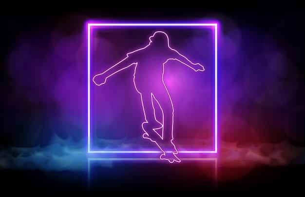 Abstracte achtergrond van man spelen skateboard met neon frame Premium Vector