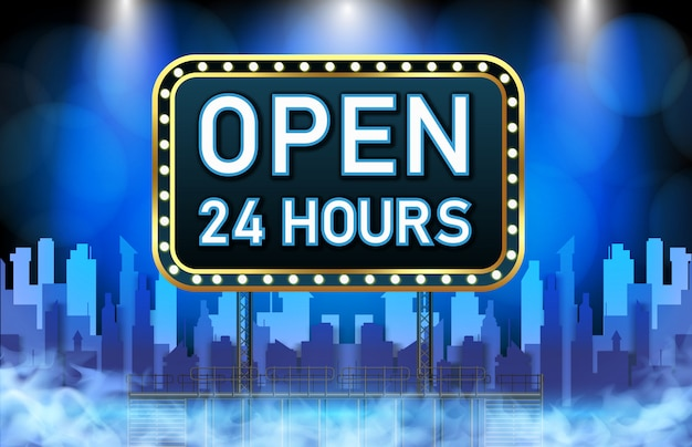 Abstracte achtergrond van neon open 24 uur teken Premium Vector