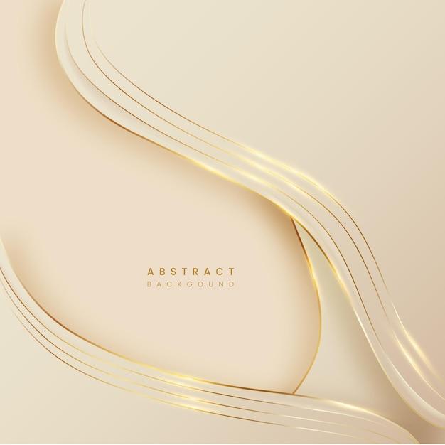 Abstracte achtergrond van pastelton met gouden lijn Premium Vector