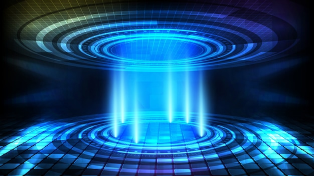 Abstracte achtergrond van ronde futuristische technologie gebruikersinterface scherm hud en verlichting lege podium spotlight achtergrond Premium Vector