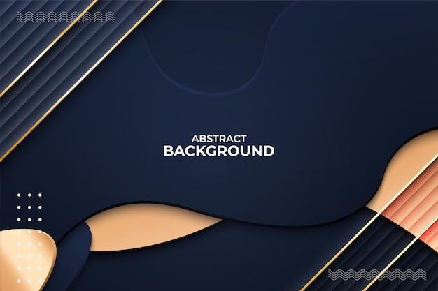 Abstracte achtergrond vormen dynamisch met gouden lijn Premium Vector